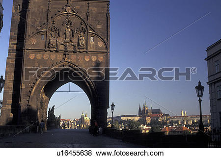 Pictures of Prague, Charles Bridge Gate, Czech Republic, Praha.