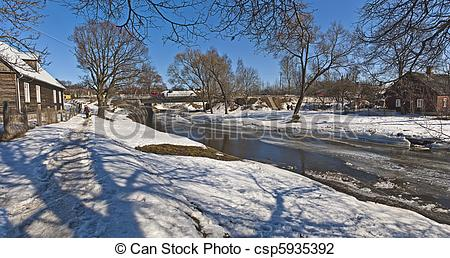Clip Art of River: snow, ice and small bridge.