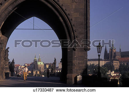 Picture of Charles Bridge, Prague, Czech Republic, Praha, Central.
