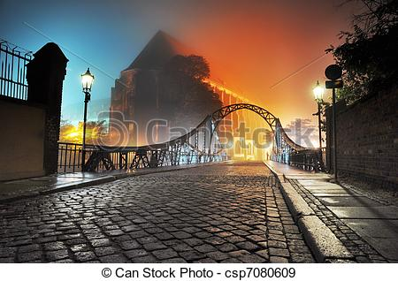Stock Photographs of Beautiful view of the old town bridge at.