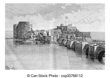 Clipart of Bridge linking the town to Sidon Sea Castle in Sidon.