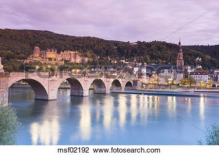 Stock Photo of Germany, Heidelberg, city view with old bridge and.