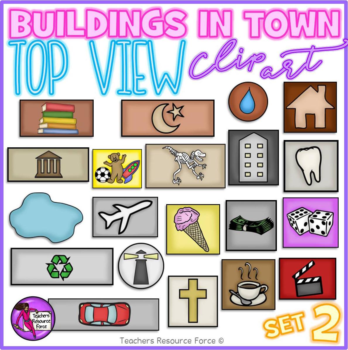 Birds eye view of buildings clip art.