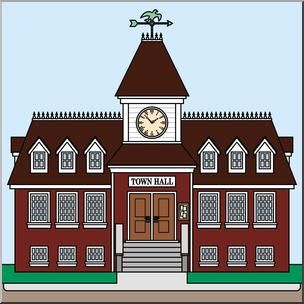 Clip Art: Buildings: Town Hall Color I abcteach.com.