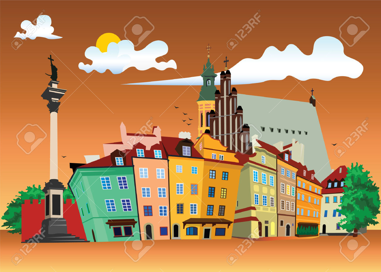 Vector Color Illustration Of Castle Square In Warsaw Old Town.