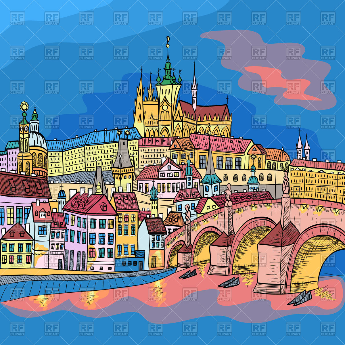 Prague cityscape in sketchy style with Prague Castle and Charles.