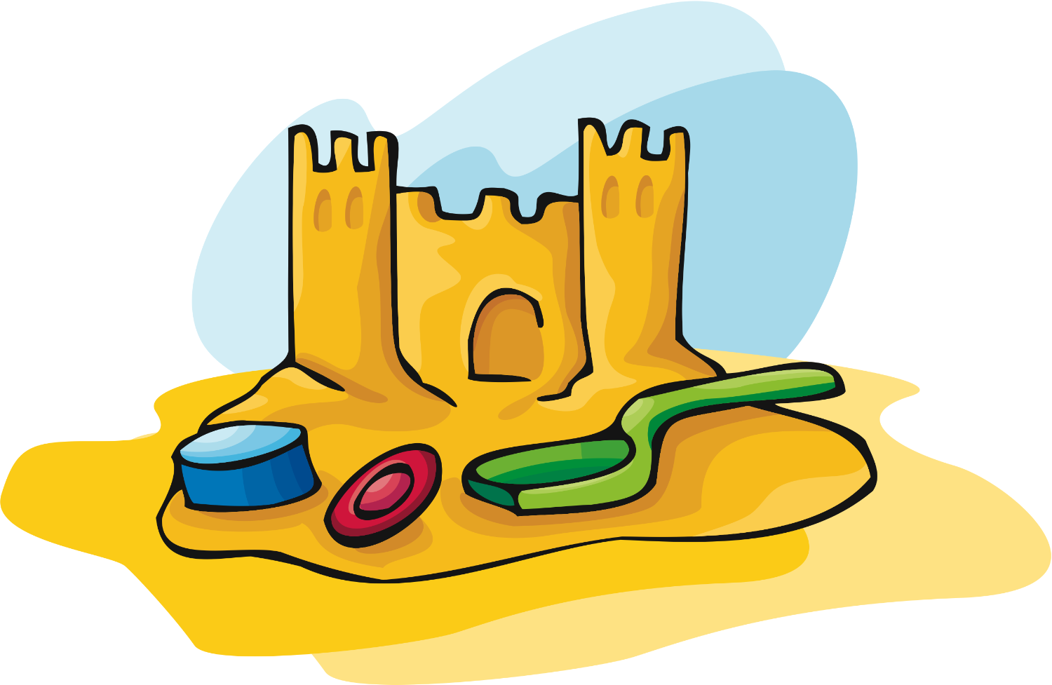 Sand Castle Clipart Black And White.