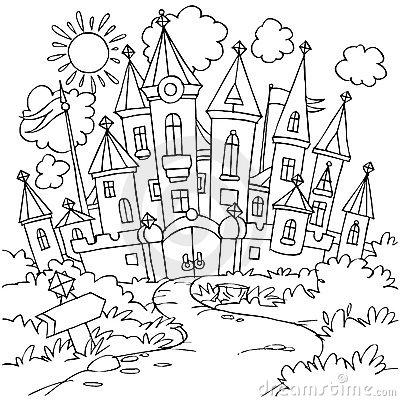Fairytale castle clipart black and white.
