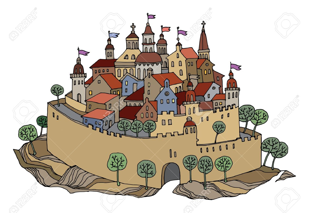 Cartoon Hand Drawing Color Castle Royalty Free Cliparts, Vectors.