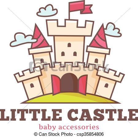 Vector Clipart of Vector cute little castle logo for baby shop.