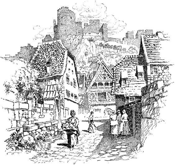 castle town village illustration.
