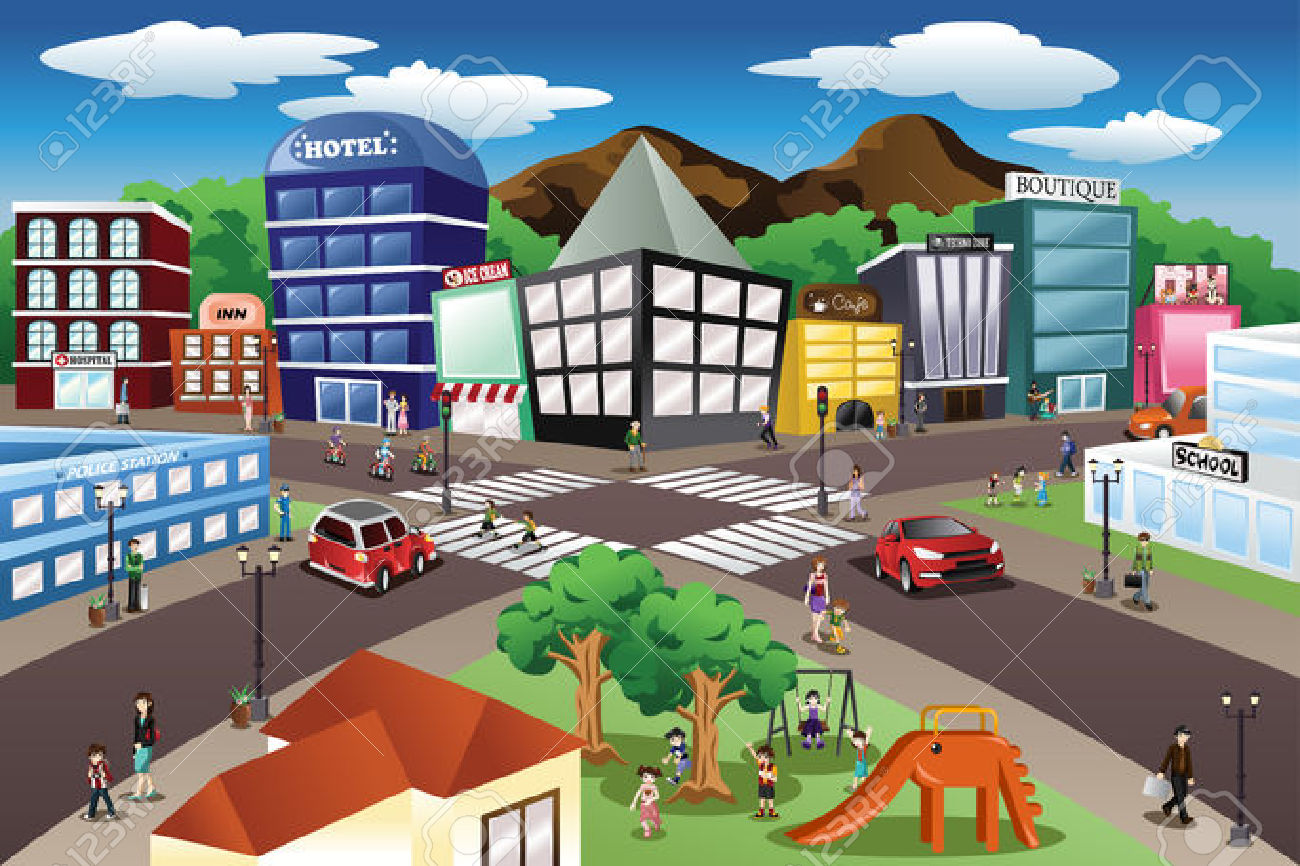 A Vector Illustration Of City Scene Royalty Free Cliparts, Vectors.