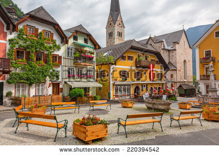 Hallstatt Austria 21 June 2014 Town Stock Photo 220394542.