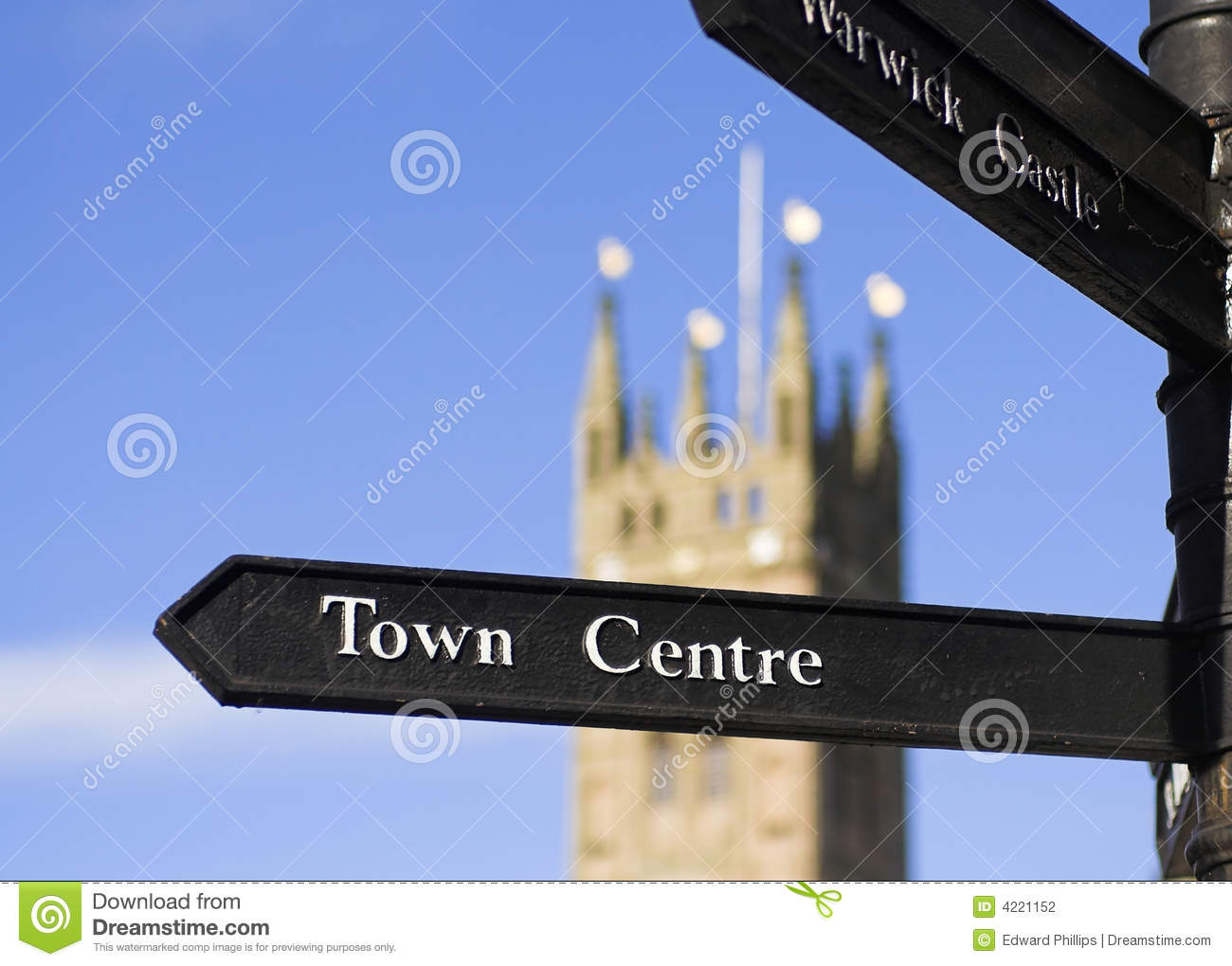 Town Centre Sign Stock Photography.