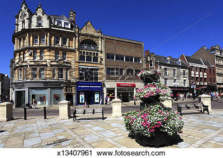 Stock Photography of Town centre street view, Northampton town.
