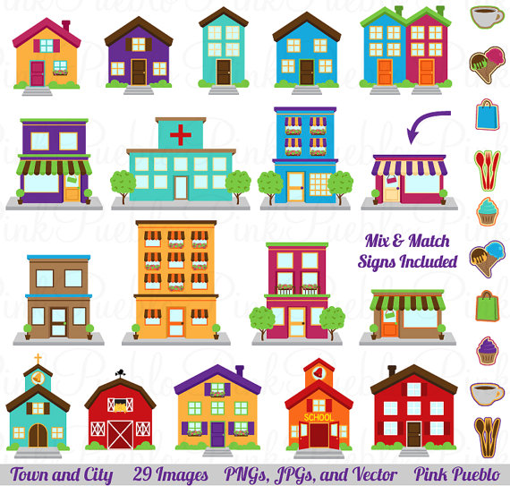 City Clipart Clip Art Printable House Village Town by PinkPueblo.