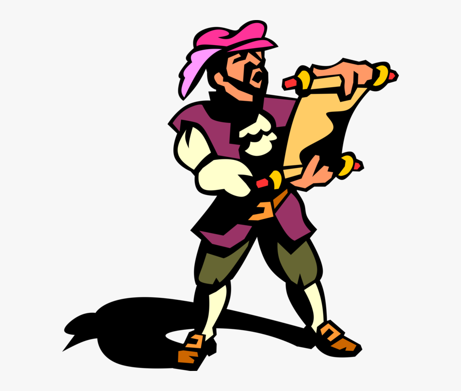 Vector Illustration Of Town Crier Or Bellman Makes.