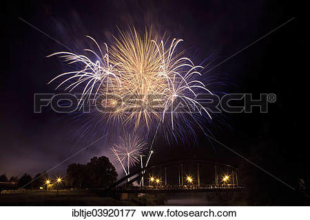 "Picture of ""Fireworks for at town festival, Muldebrucke bridge."