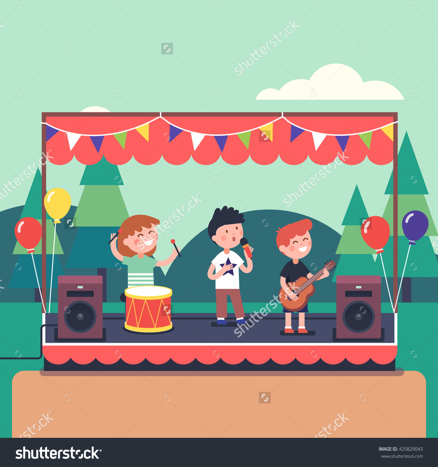 Kids Music Band Playing Rocking Town Stock Vector 425829043.