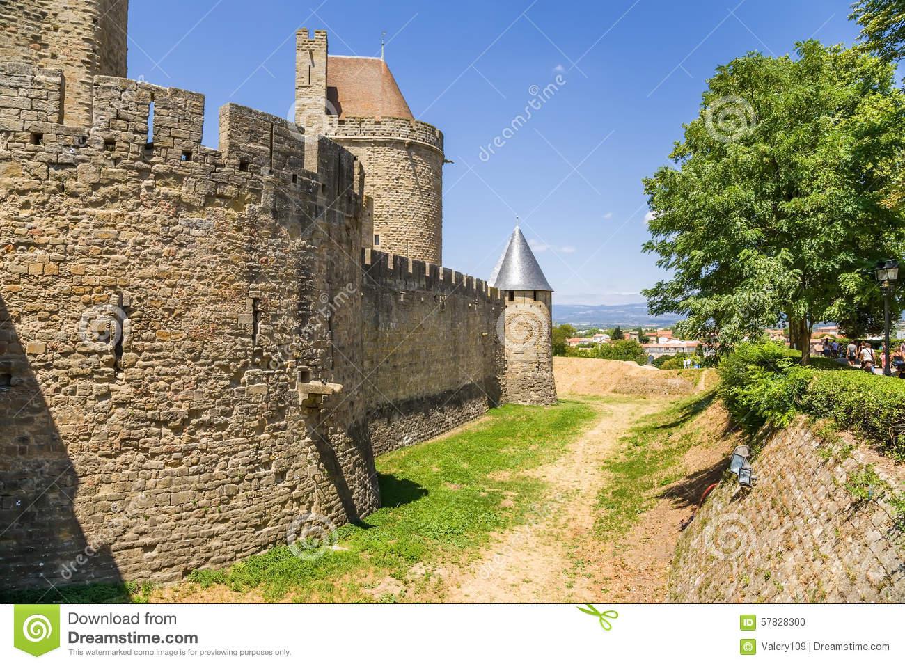 Medieval Castle In Carcassonne, France. UNESCO List Stock Photo.