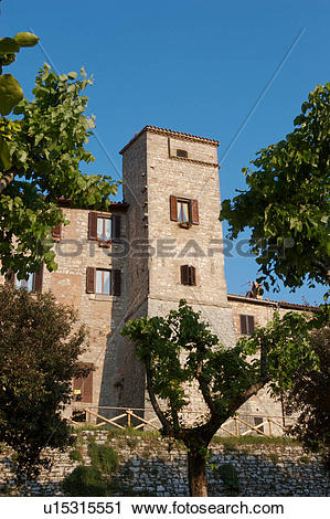 Stock Photography of View of hilltop medieval town, showing old.