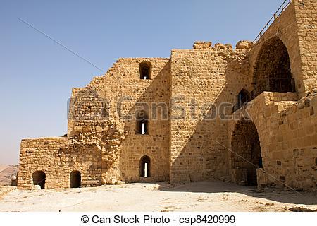 Stock Photographs of walls of the fortified town of Kerak, Jordan.