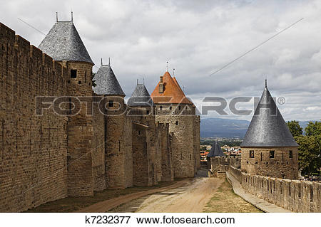 Picture of Walls in Carcassonne fortified town k7232377.