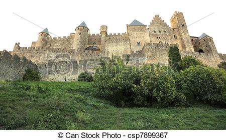 Picture of Fortified wall of the medieval town Carcassonne in.