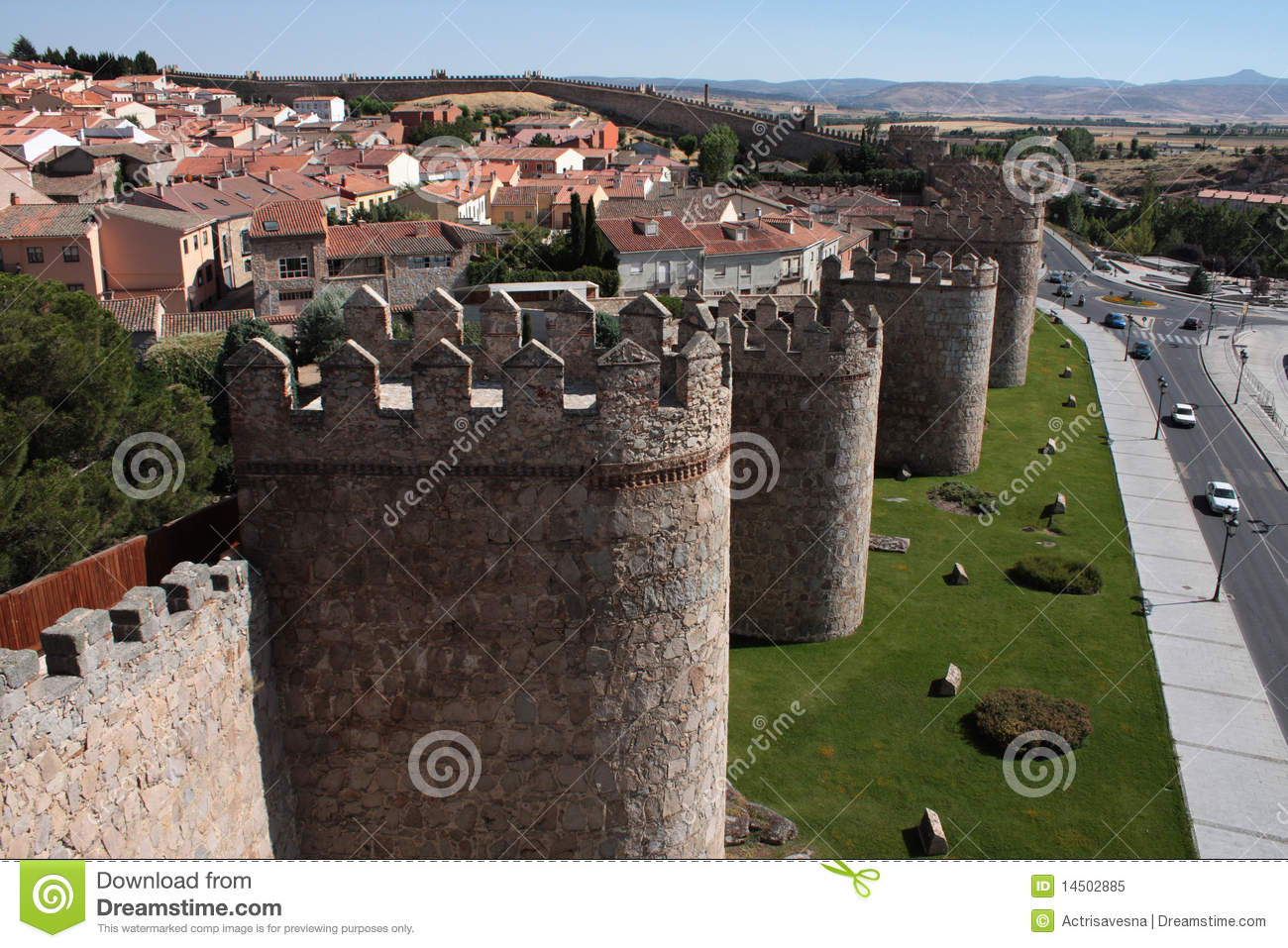 Ancient Fortified Town Of Avila Royalty Free Stock Photo.