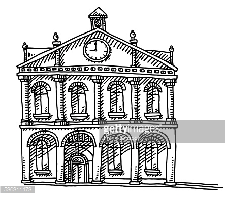Old Town Hall Building Clock Drawing Vector Art.