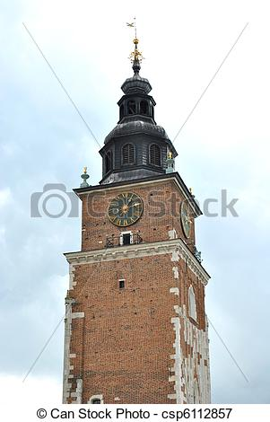 Picture of town hall clock tower in poland csp6112857.