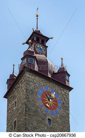 Stock Photos of Town Hall clock tower, Lucerne.