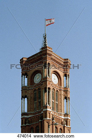 Stock Photo of Clock tower of the Town Hall, Rote Rathaus, Berlin.