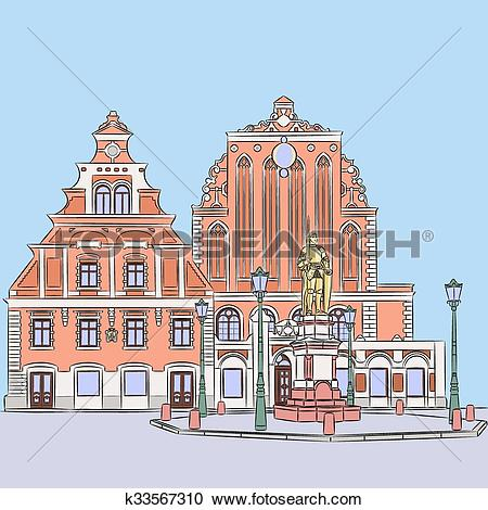 Clipart of Vector. Riga. Town Hall Square. k33567310.