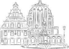 Riga Town Hall Square Stock Illustrations.