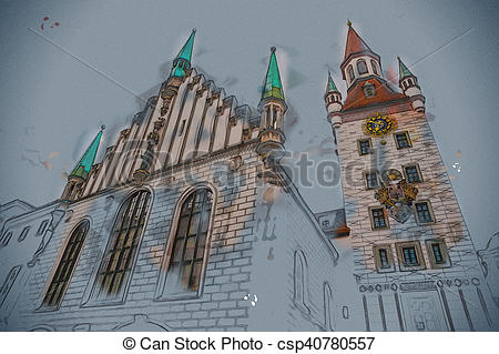 Stock Illustrations of Old Town Hall Tower in Munich, Germany. Red.