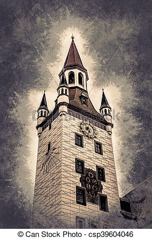 Drawing of Old Town Hall Tower in Munich, Germany. Red roofs.