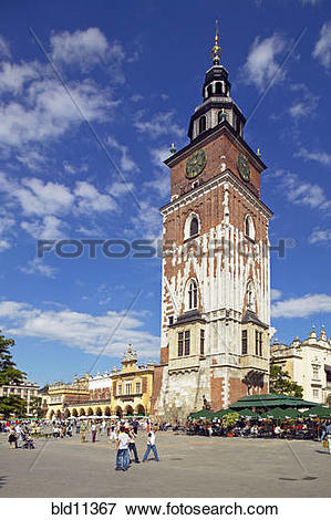 Picture of Krakow Poland Old Town Square Town Hall tower it is.