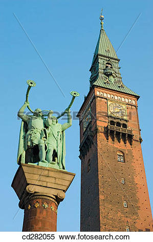 Stock Image of Statue of lure players in Town Hall Square. Town.