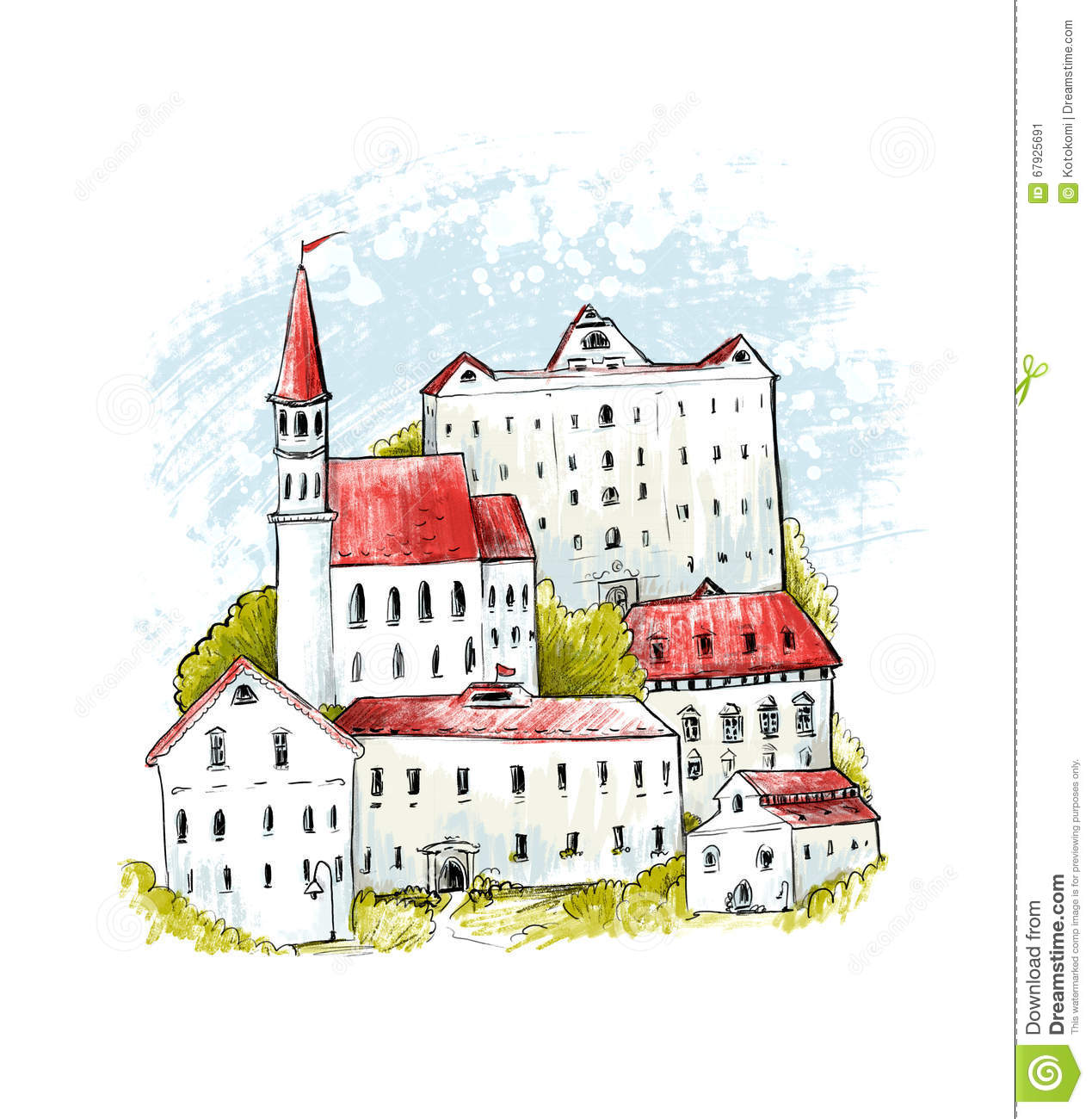 Europe Old Town Illustration. Hand Drawn Houses With Red Roofs Ang.