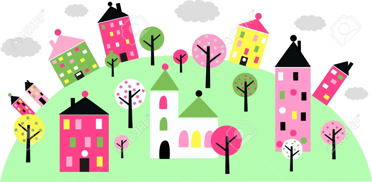 Colorful Little Town On A Hill Royalty Free Cliparts, Vectors, And.