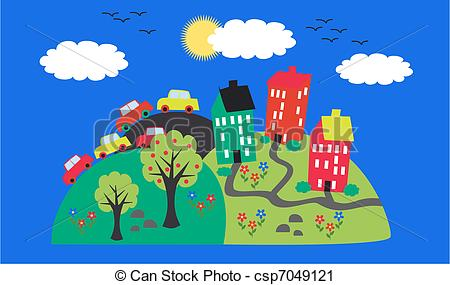 Vector Clip Art of a friendly town on a hill csp7049121.
