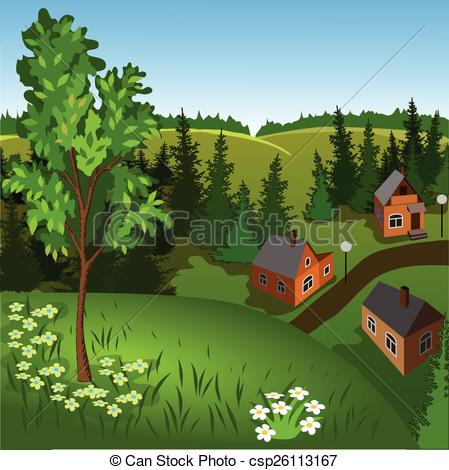 Clip Art Vector of View of landscape of summer town from hill. Day.