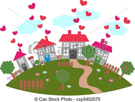 Clipart Vector of friendly town.