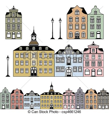 Clip Art Vector of Old town houses Vector illustration.