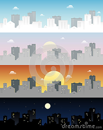 Day And Night Skyline Town Vector Clip Art Stock Vector.