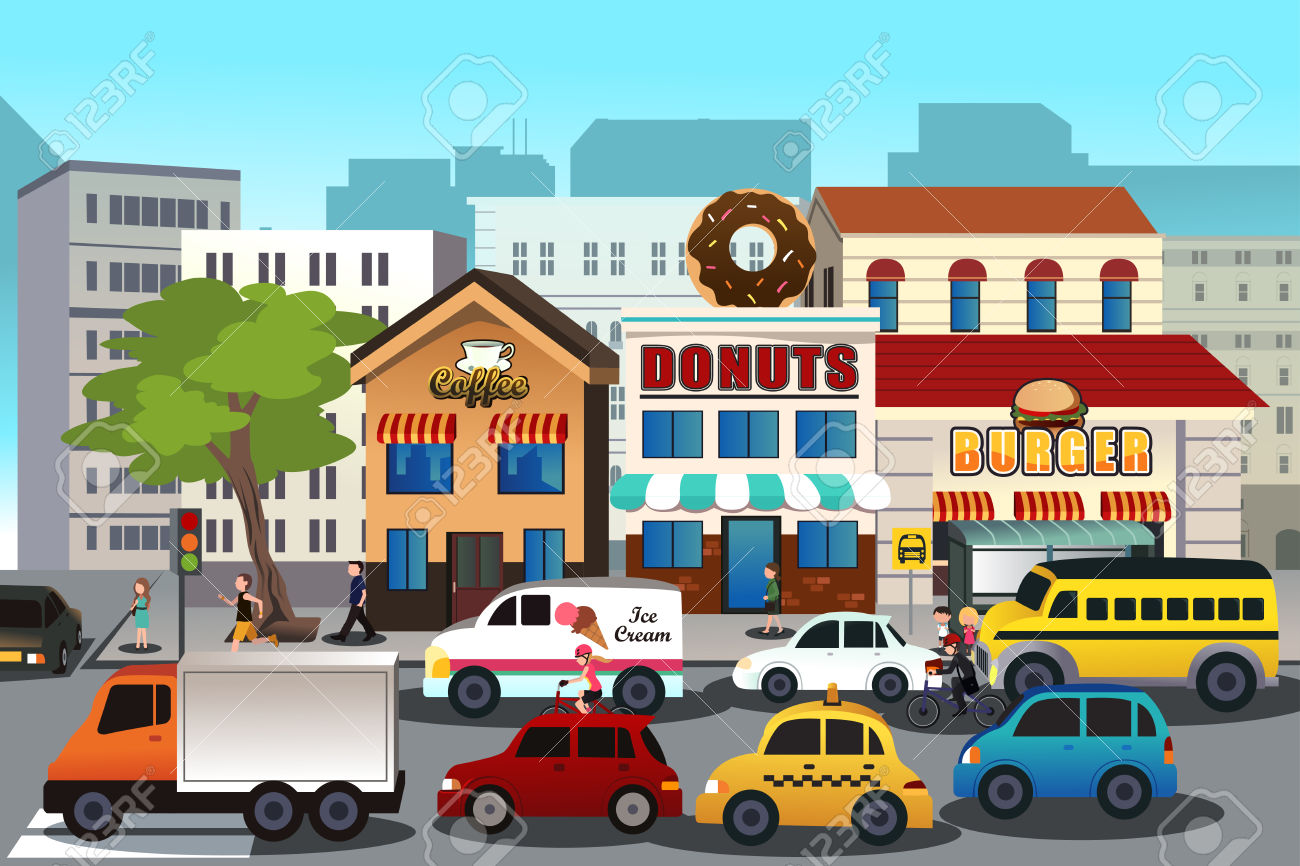 A Vector Illustration Of Busy City In The Morning Royalty Free.