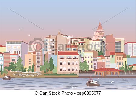 Vectors Illustration of Town in morning.