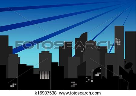 Clip Art of Town Silhouette at morning k16937538.
