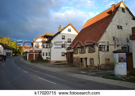 Stock Image of Early morning in the German village k17020715.